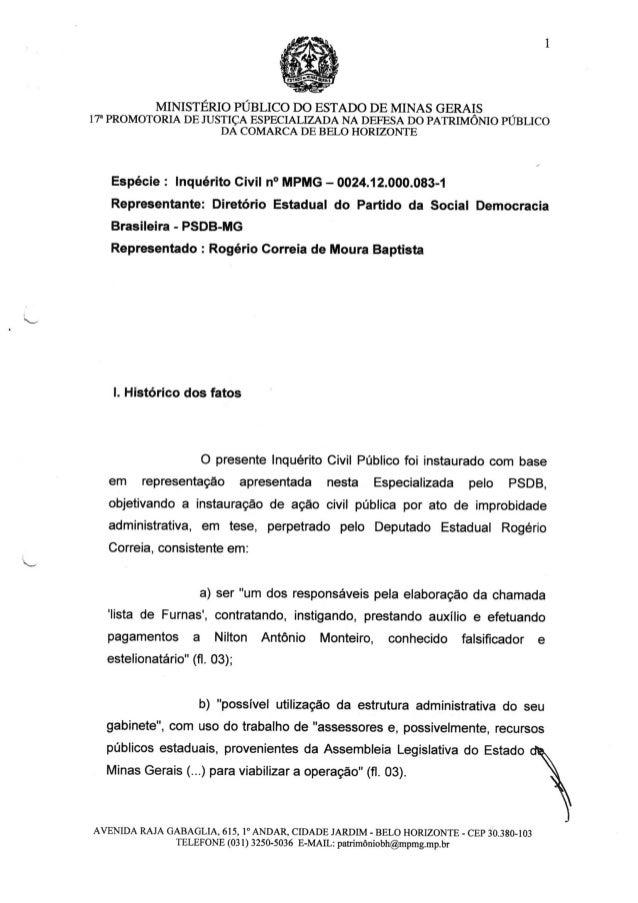 MINISTÉRIO PÚBLICO DO ESTADO DE MINAS GERAIS ,  17' PROMOTORIA DE JUSTIÇA ESPECIALIZADA NA DEFESA DO PATRIMÔNIO PUBLICO DA...