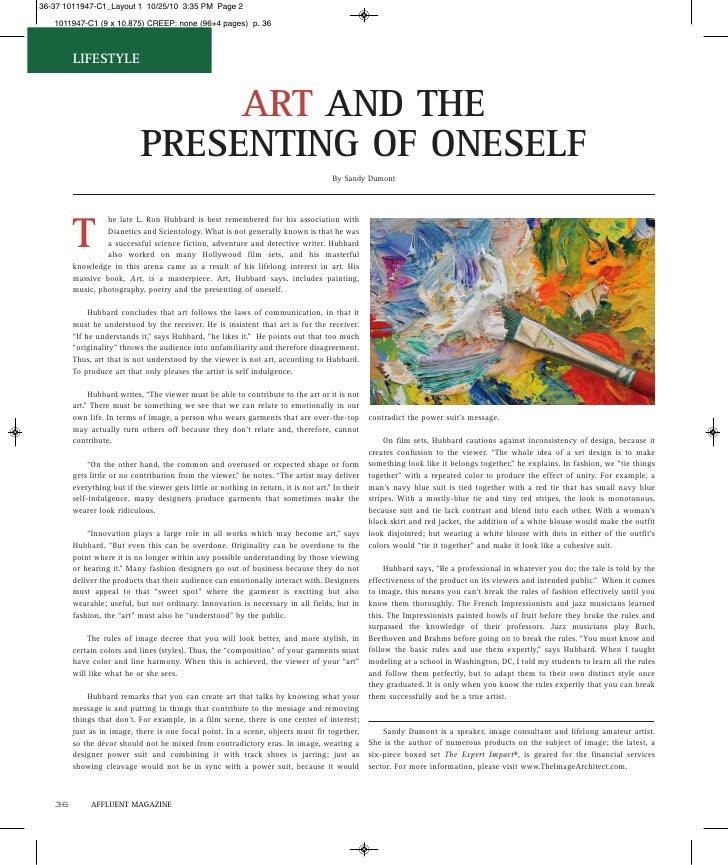 LIFESTYLE                              ART AND THE                         PRESENTING OF ONESELF                          ...