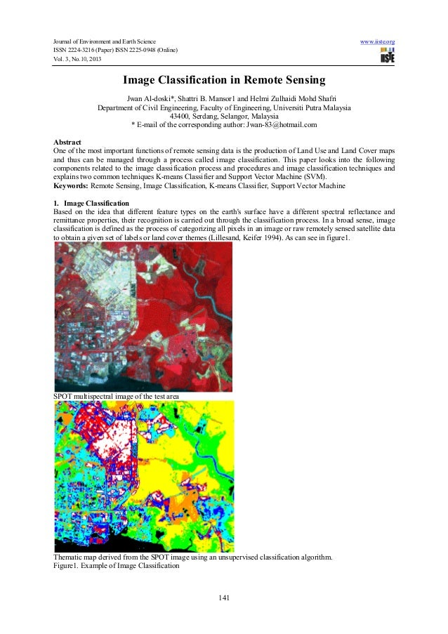 classification remote sensing image Key words: image classification, pixel-based, object-based,  information  extraction from remote sensing data especially land cover can be.