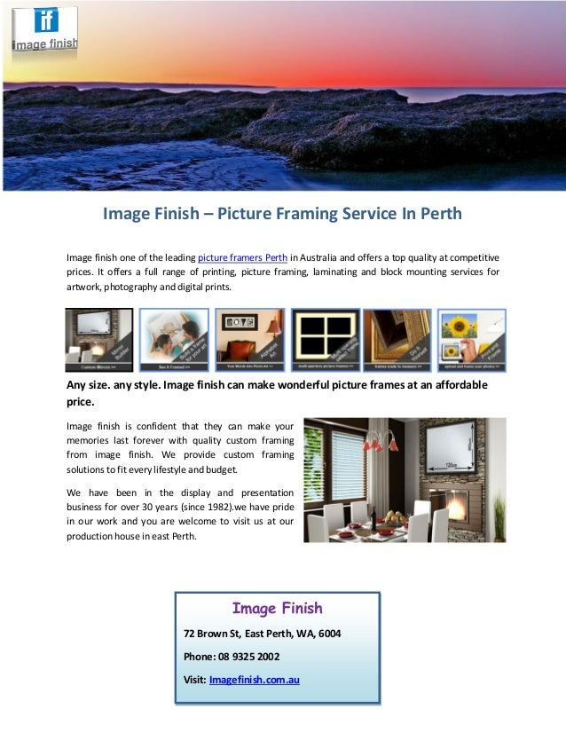 Image Finish Picture Framing Service In Perth
