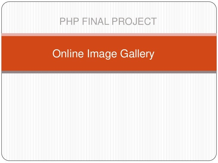 PHP FINAL PROJECTOnline Image Gallery