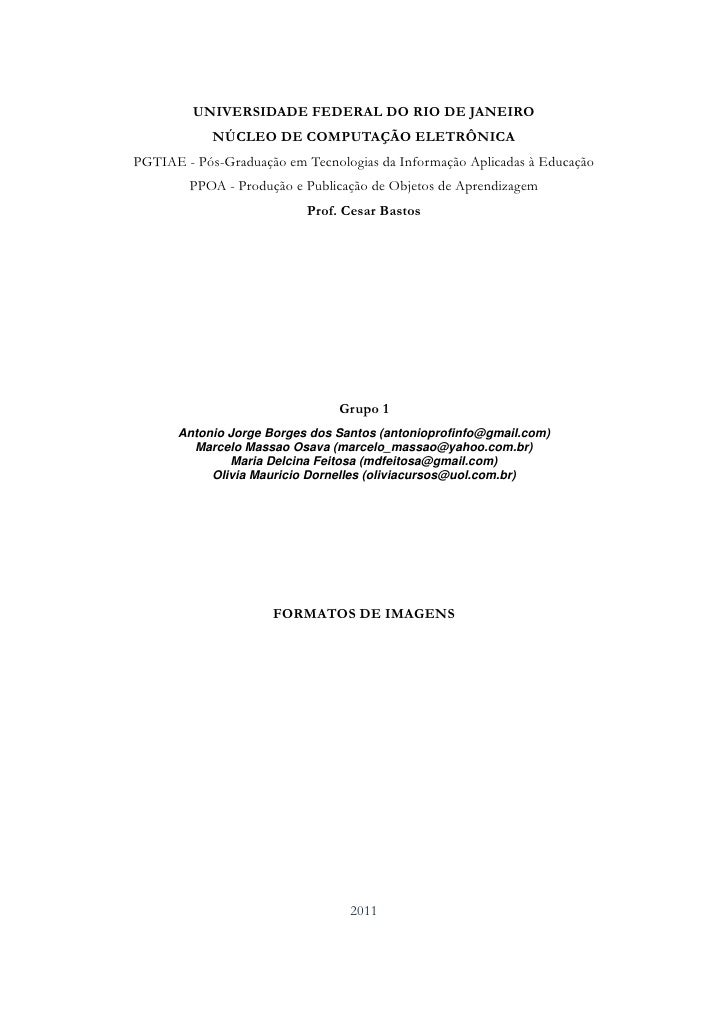 UNIVERSIDADE FEDERAL DO RIO DE JANEIRO            NÚCLEO DE COMPUTAÇÃO ELETRÔNICAPGTIAE - Pós-Graduação em Tecnologias da ...