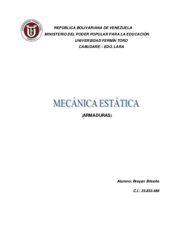 REPÚBLICA BOLIVARIANA DE VENEZUELA MINISTERIO DEL PODER POPULAR PARA LA EDUCACIÓN UNIVERSIDAD FERMÍN TORO CABUDARE – EDO. ...
