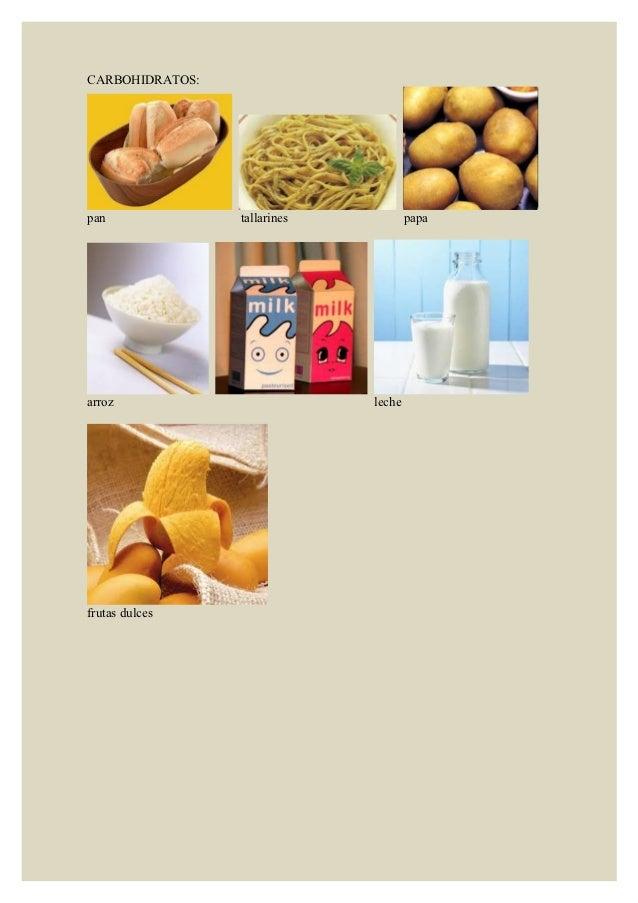 CARBOHIDRATOS:pan              tallarines           papaarroz                         lechefrutas dulces