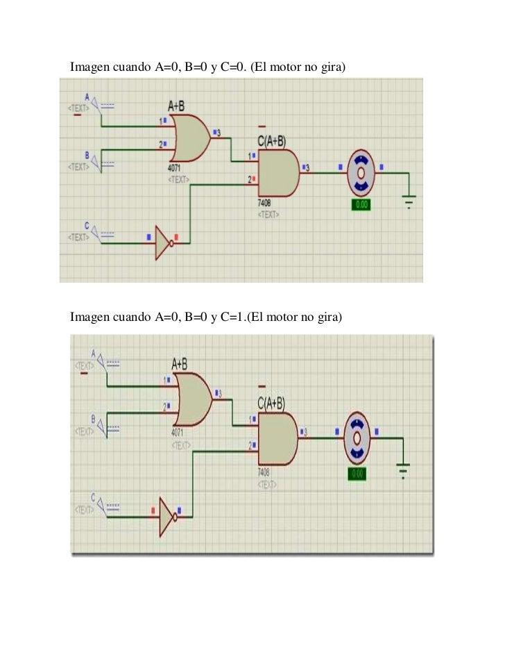 Imagen cuando A=0, B=0 y C=0. (El motor no gira)Imagen cuando A=0, B=0 y C=1.(El motor no gira)