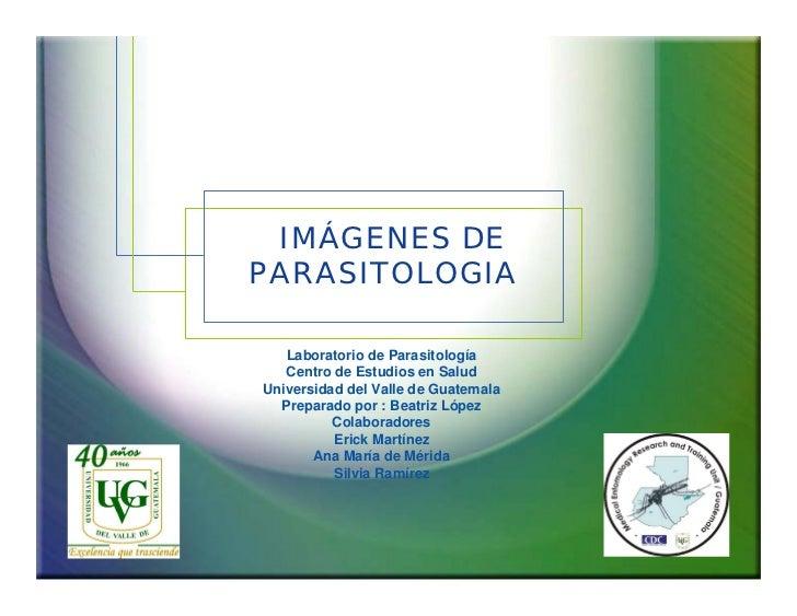 IMÁGENES DE PARASITOLOGIA     Laboratorio de Parasitología    Centro de Estudios en Salud Universidad del Valle de Guatema...