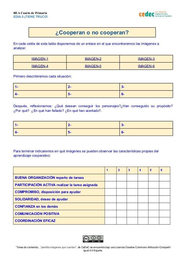 REA Cuarto de Primaria EDIA 2-¡TIENE TRUCO! ¿Cooperan o no cooperan? En cada celda de esta tabla disponemos de un enlace e...
