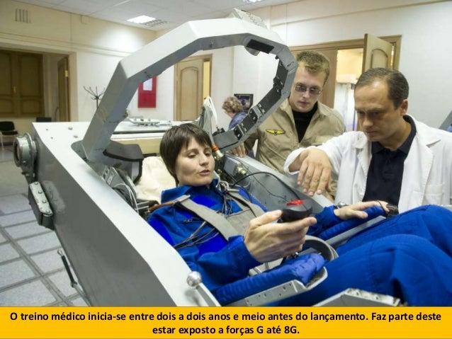 O treino médico inicia-se entre dois a dois anos e meio antes do lançamento. Faz parte deste estar exposto a forças G até ...