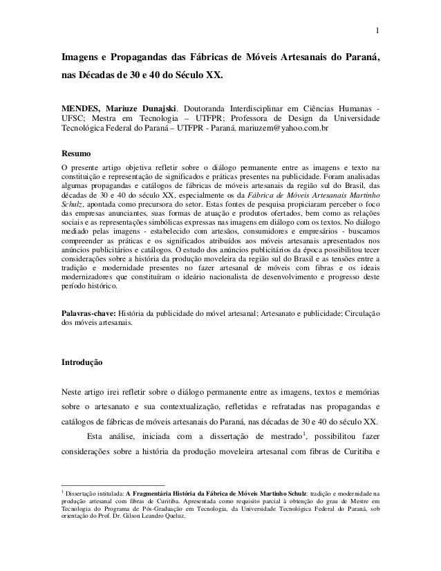 1Imagens e Propagandas das Fábricas de Móveis Artesanais do Paraná,nas Décadas de 30 e 40 do Século XX.MENDES, Mariuze Dun...