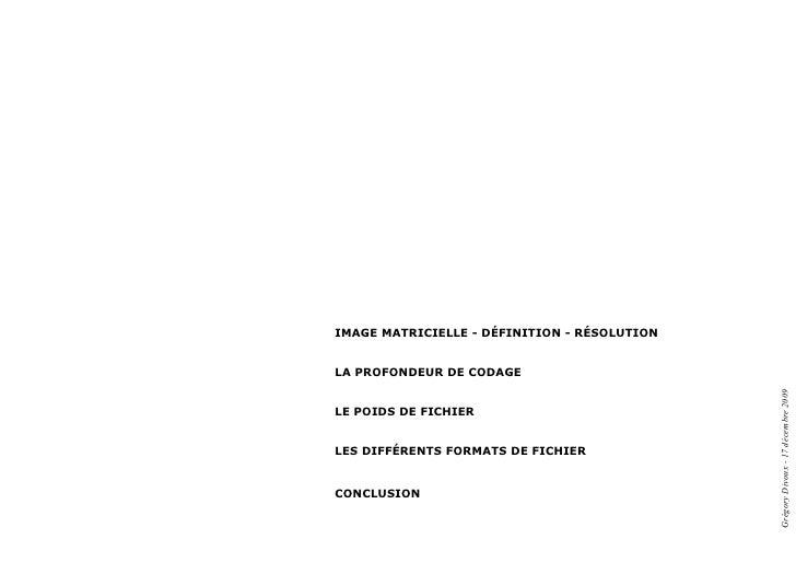 Image matrIcIelle - défInItIon - résolutIon   la profondeur de codage                                                   Gr...