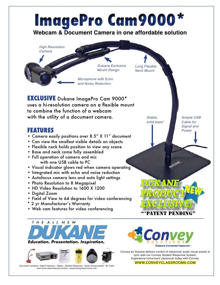 ImagePro Cam9000*              Webcam & Document Camera in one affordable solution                     High Resolution    ...