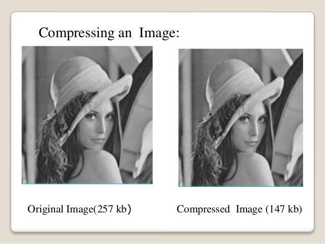 Original Image(257 kb) Compressed Image (147 kb) Compressing an Image: