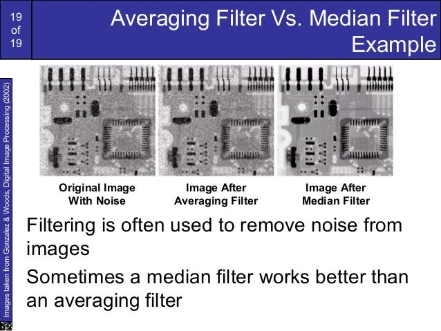 19of19Averaging Filter Vs. Median FilterExampleFiltering is often used to remove noise fromimagesSometimes a median filter...