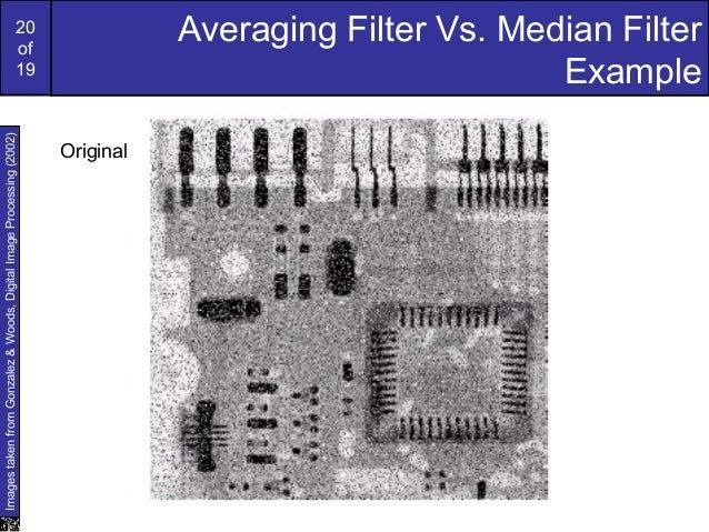 20of19Averaging Filter Vs. Median FilterExampleImagestakenfromGonzalez&Woods,DigitalImageProcessing(2002)Original
