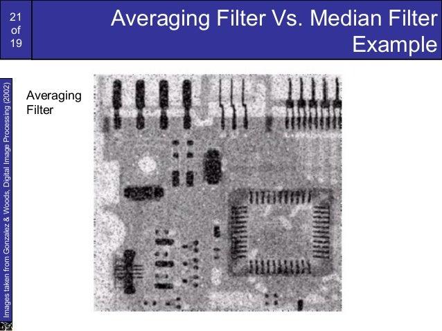 21of19Averaging Filter Vs. Median FilterExampleImagestakenfromGonzalez&Woods,DigitalImageProcessing(2002)AveragingFilter