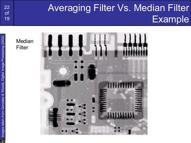 22of19Averaging Filter Vs. Median FilterExampleImagestakenfromGonzalez&Woods,DigitalImageProcessing(2002)MedianFilter