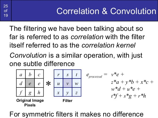 25of19Correlation & ConvolutionThe filtering we have been talking about sofar is referred to as correlation with the filte...