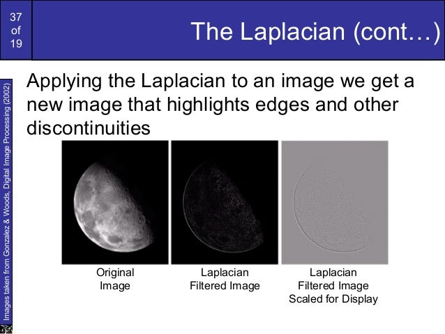 37of19The Laplacian (cont…)Applying the Laplacian to an image we get anew image that highlights edges and otherdiscontinui...