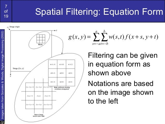 7of19Spatial Filtering: Equation Form∑∑−= −=++=aasbbttysxftswyxg ),(),(),(Filtering can be givenin equation form asshown a...