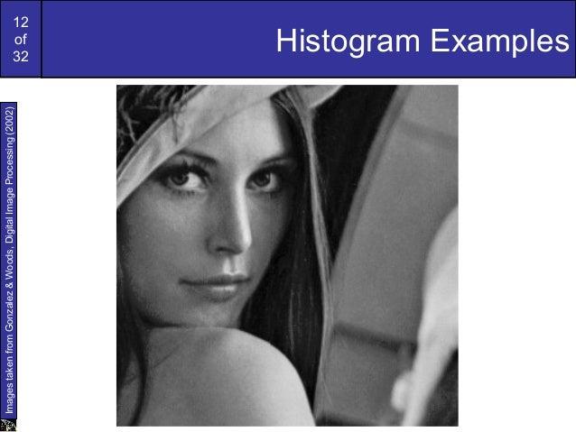 12of32Histogram ExamplesImagestakenfromGonzalez&Woods,DigitalImageProcessing(2002)