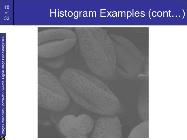 18of32Histogram Examples (cont…)ImagestakenfromGonzalez&Woods,DigitalImageProcessing(2002)