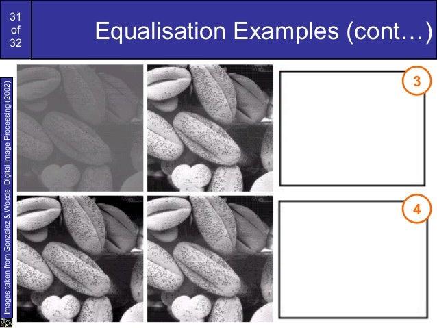 31of32Equalisation Examples (cont…)ImagestakenfromGonzalez&Woods,DigitalImageProcessing(2002)34