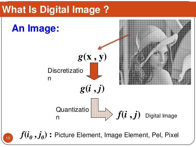 An Image: Discretizatio n Quantizatio n g(x , y) g(i , j) f(i , j) Digital Image f(i0 , j0) : Picture Element, Image Eleme...