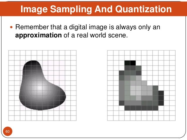  Remember that a digital image is always only an approximation of a real world scene. Image Sampling And Quantization 60