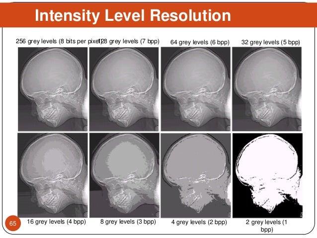 Intensity Level Resolution 128 grey levels (7 bpp) 64 grey levels (6 bpp) 32 grey levels (5 bpp) 16 grey levels (4 bpp) 8 ...