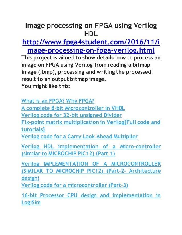 Image processing on fpga using verilog hdl