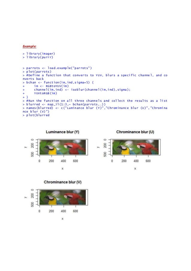 imager package in R and examples