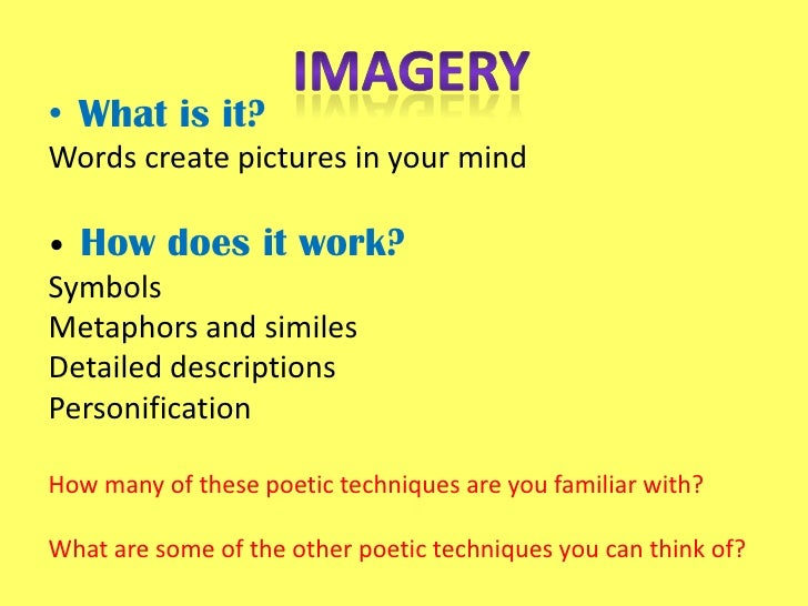 Essay on imagery in poetry