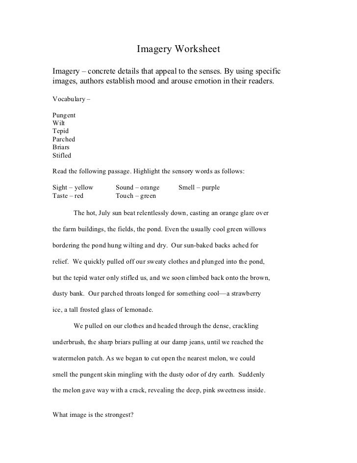 Imagery Worksheets For 5th Grade | worksheet example