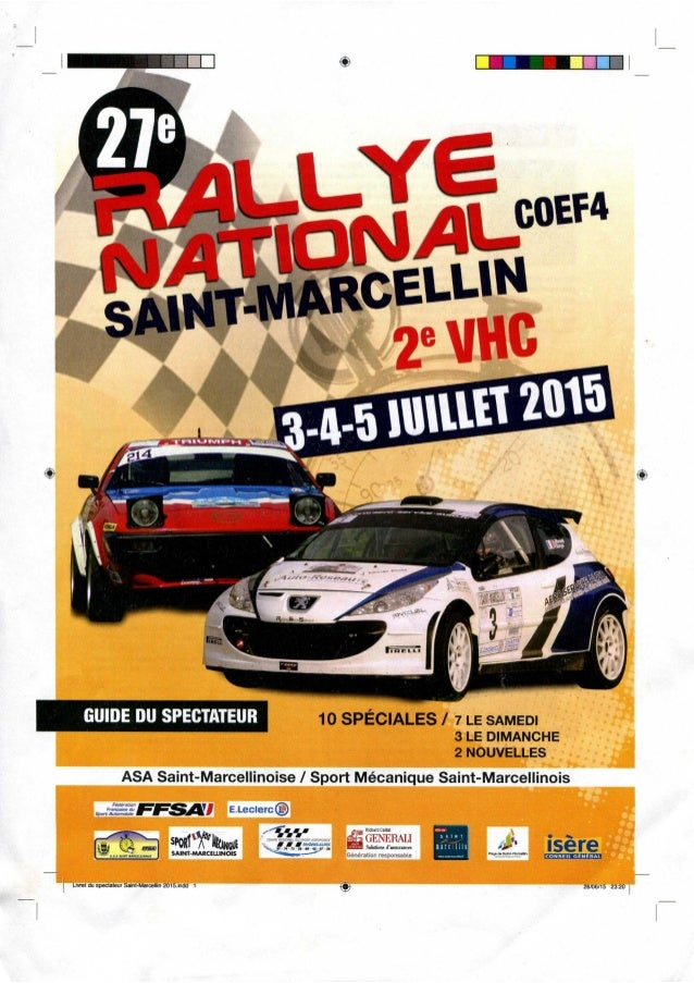 Guide du spectateur - 27e Rallye National de Saint Marcellin (2015)