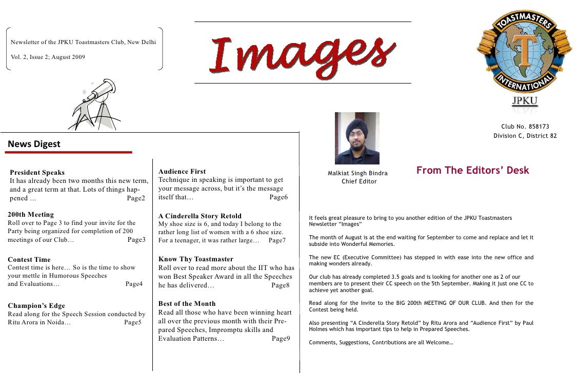Newsletter of the JPKU Toastmasters Club, New Delhi   Vol. 2, Issue 2; August 2009                                        ...