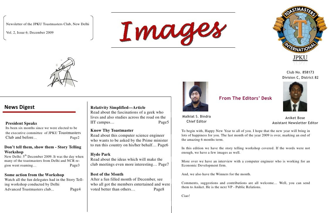 Newsletter of the JPKU Toastmasters Club, New Delhi   Vol. 2, Issue 6; December 2009                                      ...