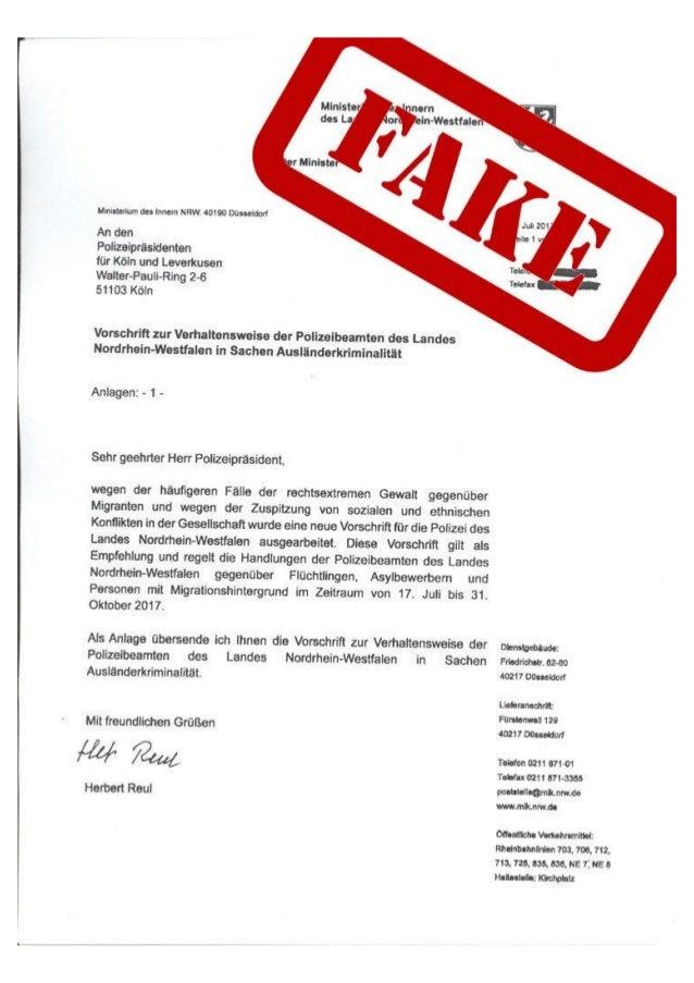 Fake-Anweisung für die NRW-Polizei