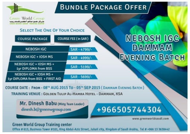 Nebosh Igc Course In Dammam Saudi Arabia With Unimaginable Offer