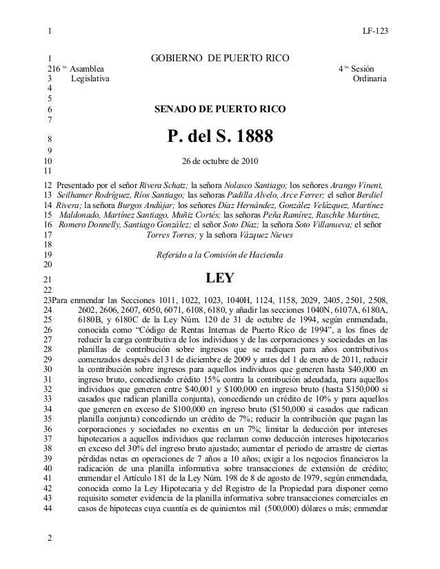 LF-123 GOBIERNO DE PUERTO RICO 16 ta. Asamblea 4 ta. Sesión Legislativa Ordinaria SENADO DE PUERTO RICO P. del S. 1888 26 ...