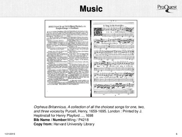 Music 1/21/2015 6 Orpheus Britannicus, A collection of all the choicest songs for one, two, and three voices by Purcell, H...