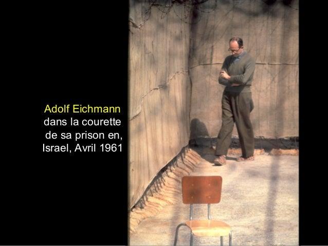 Adolf Eichmann dans la courette de sa prison en, Israel, Avril 1961