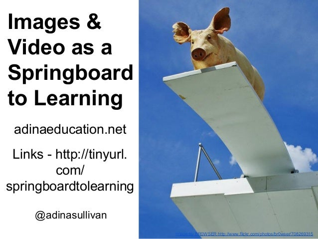 Images & Video as a Springboard to Learning adinaeducation.net Links - http://tinyurl. com/ springboardtolearning @adinasu...