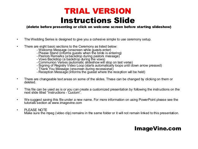 TRIAL VERSION Instructions Slide  (delete before presenting or click on welcome screen before starting slideshow)  •  The ...