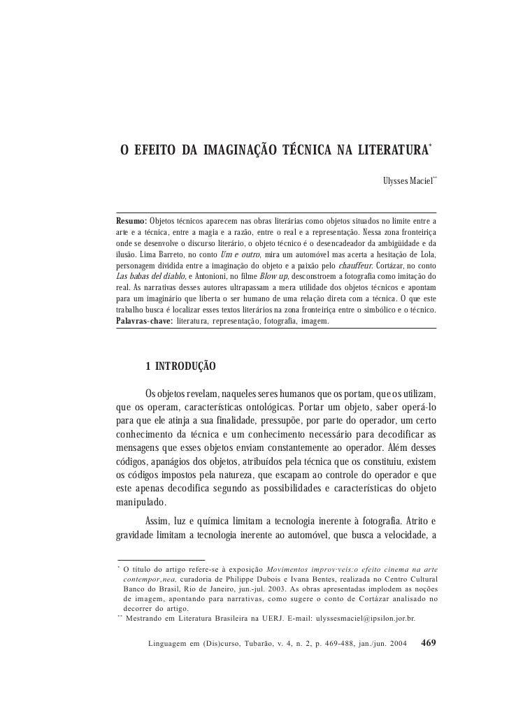 Ulysses Maciel        O EFEITO DA IMAGINAÇÃO TÉCNICA NA LITERATURA*                                                       ...