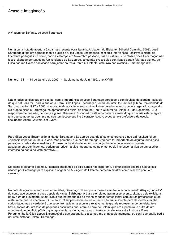 Instituto Camões Portugal - Ministério dos Negócios Estrangeiros   Acaso e Imaginação     A Viagem do Elefante, de José Sa...