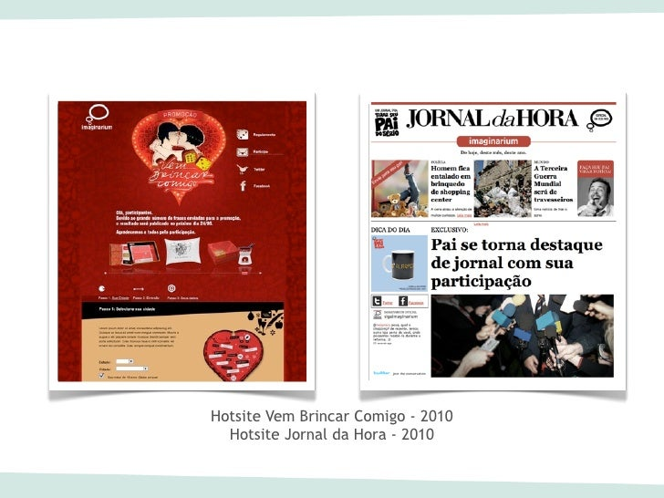 Hotsite Vem Brincar Comigo - 2010  Hotsite Jornal da Hora - 2010