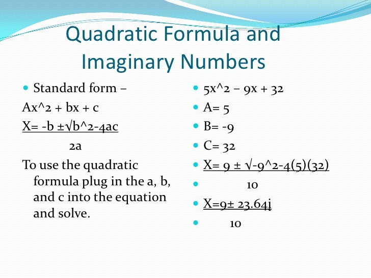 Imaginary Numbers Standard Form Dolapgnetband