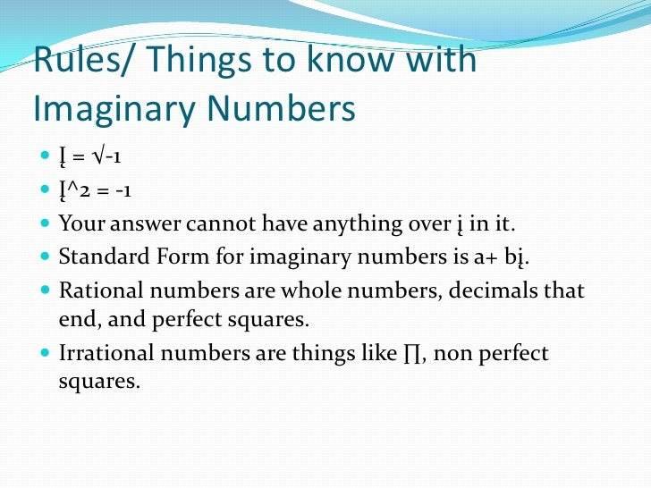 Imaginary numbers ppt.