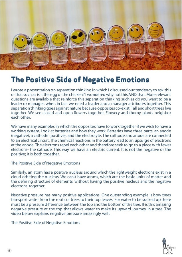 41 Our emotions are not different. We say positive emotions and negative emotions. This classification of emotions raised ...
