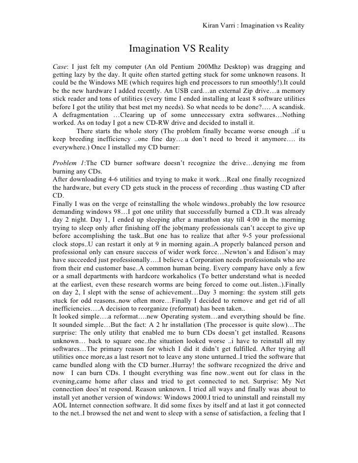 Imagination Vs Reality Research Paper. Kiran Varri : Imagination Vs Reality  Imagination VS Reality Case: ...
